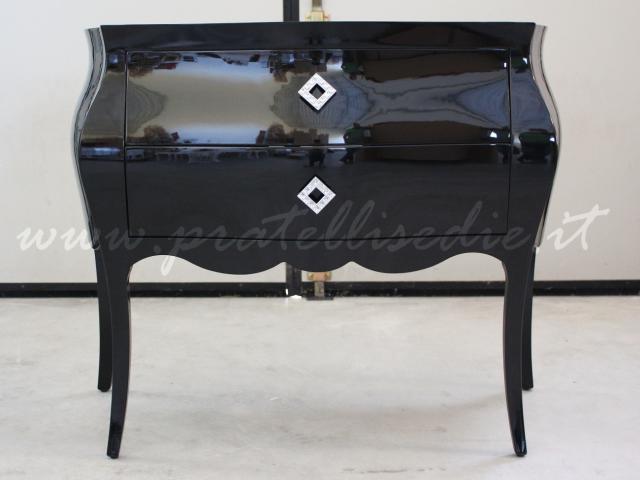 9 bagno barocco 2 cassetti laccato nero lucido con maniglie swarovski art