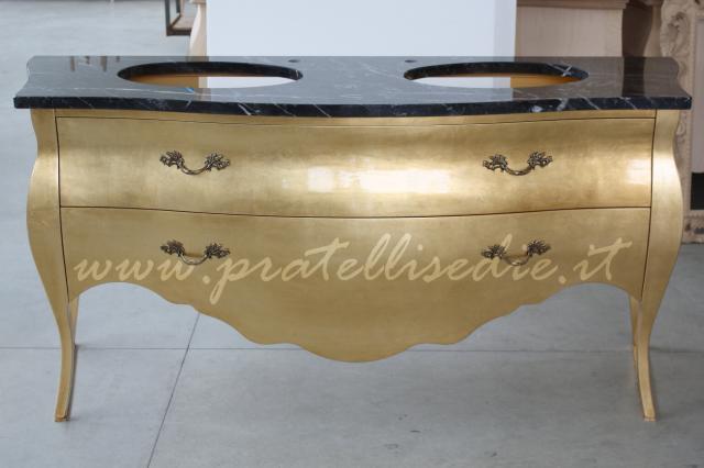 Mobile bagno barocco bombato doppio lavabo pratelli mobili - Mobili da bagno stile barocco ...