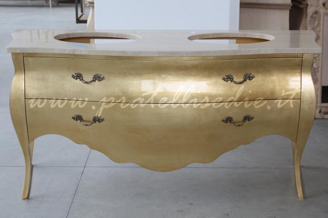 Mobile bagno barocco bombato doppio lavabo pratelli mobili - Lavabo bagno piccolo misure ...